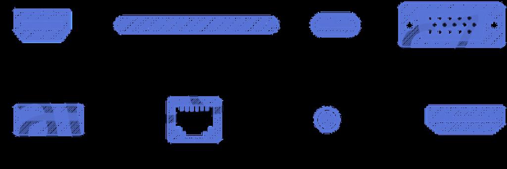 Obrázek zobrazuje schéma vstupů notebooků