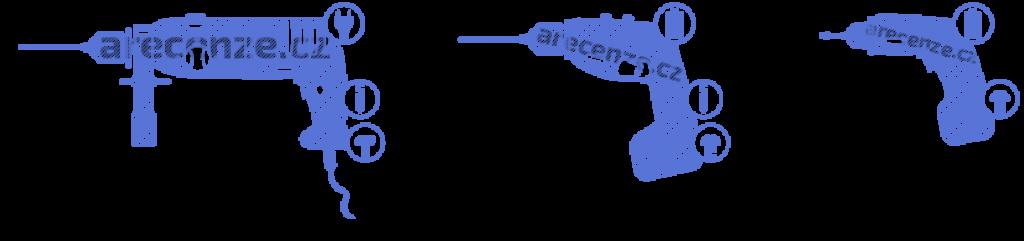 Obrázek zobrazuje schéma typů vrtaček