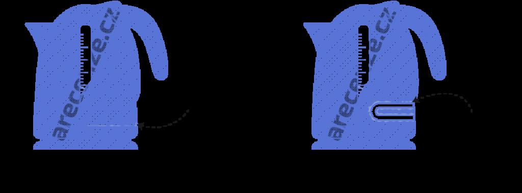 Obrázek zobrazuje schéma umístění topného tělesa u rychlovarných konvic